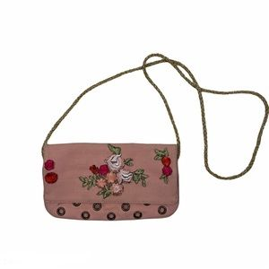 MARC JACOBS Pink Floral Embroidered Clutch Grommet